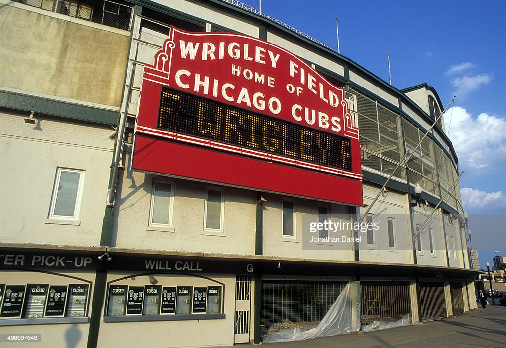 General view of the marquee at Wrigley Field as baseball for the first time in modern history cancelled a World Series because of a labor dispute in...