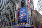 A general view of the marquee outside of Radio City Music Hall in the first round of the 2013 NFL Draft at Radio City Music Hall on April 25 2013 in...