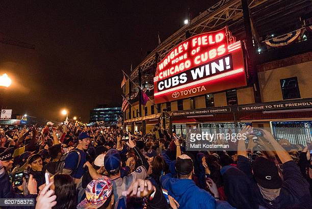 A general view of the Marquee outside Wrigley Field after the Chicago Cubs defeated the Cleveland Indians in Game 7 of the 2016 World Series on...