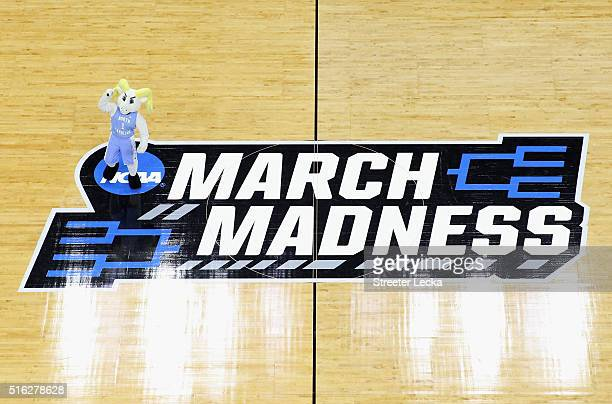 A general view of the mascot of the North Carolina Tar Heels against the Florida Gulf Coast Eagles during the first round of the NCAA Men's...