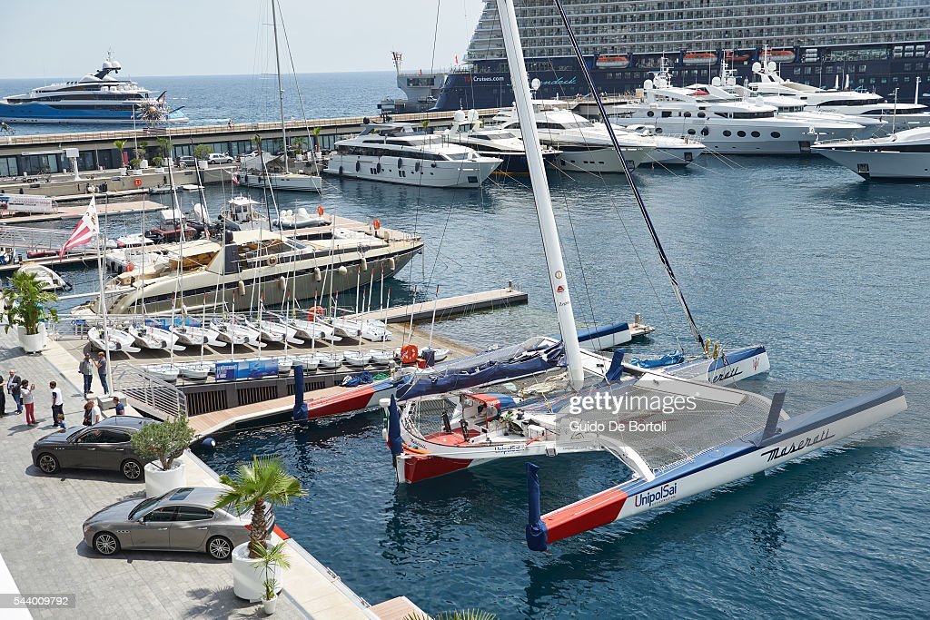 A general view of the Maserati Multi70 trimaran at YCM on June 29, 2016 in Monte-Carlo, Monaco.