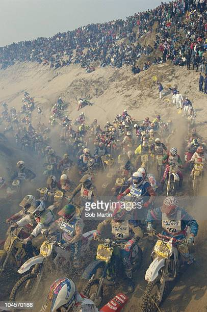 A general view of the massed riders racing across the sand during the motocross beach race Le Touquet Enduro on 1st March 1992 in Le Touquet France
