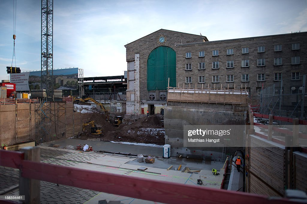 A general view of the massive construction pit near the former north entrance of the Hauptbahnhof seen at the construction site of the Stuttgart 21 railway station on December 13, 2012 in Stuttgart, Germany. German state rail carrier Deutsche Bahn, which is carrying out the massive project, announced yesterday that final costs will be EUR 1.1 billion more than previously expected, bringing the total cost to EUR 5.6 billion. The project will replace the current overground, terminal station with a more efficient underground one. Critics have decried the project as too expensive and too environmentally risky.