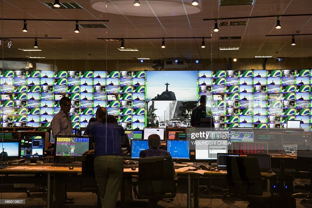 A general view of the master control room at the International Broadcast Centre of the 2014 FIFA World Cup in Rio de Janeiro Brazil just 10 days...