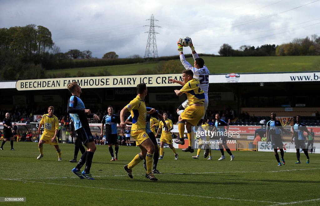 General view of the match as Benjamin Siegrist of Wycombe Wanderers makes a save during the Sky Bet League Two match between Wycombe Wanderers and Accrington Stanley at Adams Park on April 30, 2016 in High Wycombe, England.