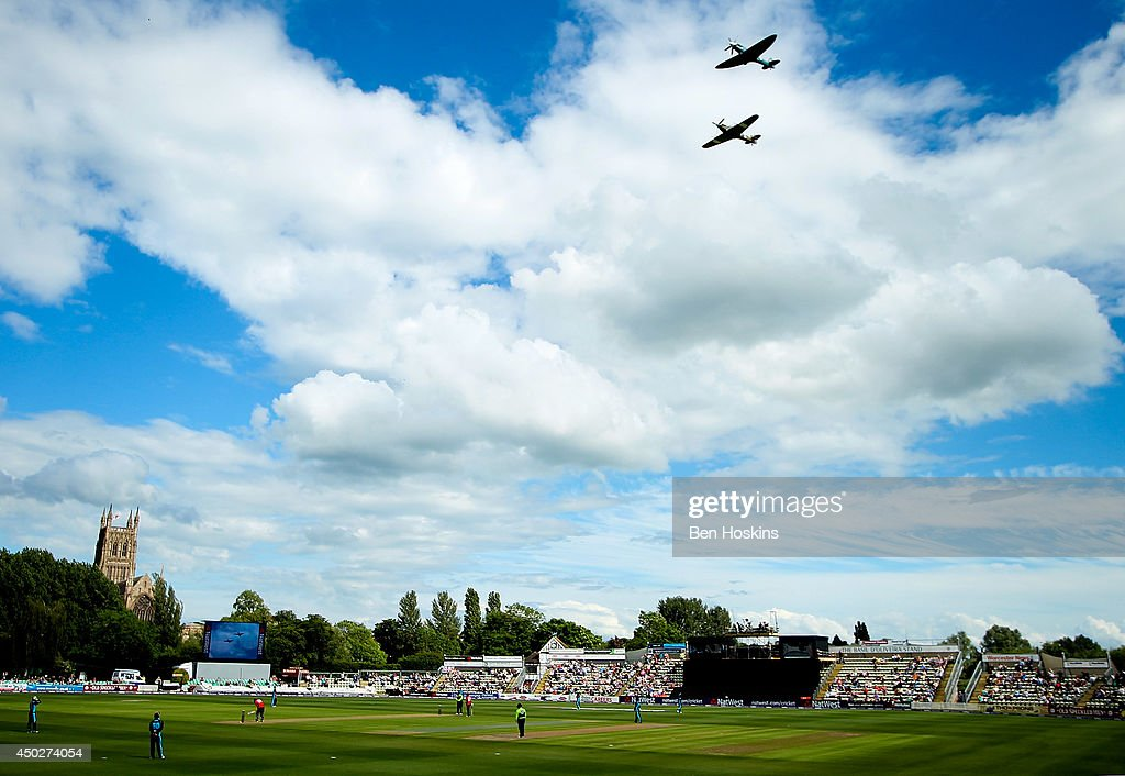 A general view of the match as The RAF perform a fly over during the Natwest T20 Blast match between Worcestershire Rapids and Durham Jets at New Road on June 7, 2014 in Worcester, England.