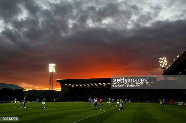 A general view of the match as the sun sets behind the stadium during the FIFA2010 World Cup Qualifier between Northern Ireland and Slovakia at...