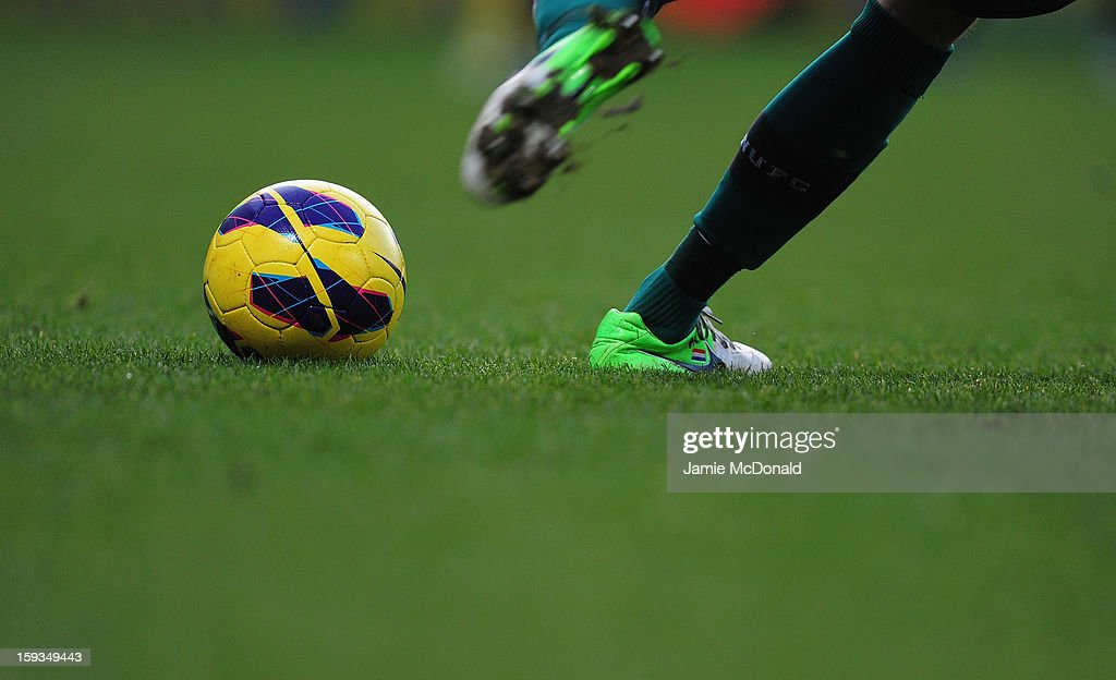A general view of the match ball during the Barclays Premier League match between Norwich City and Newcastle United at Carrow Road on January 12, 2013 in Norwich, England.
