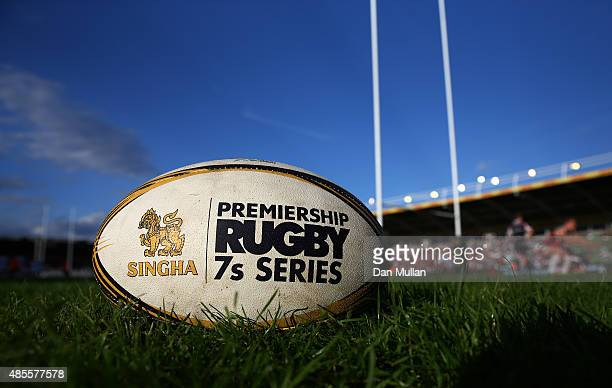 A general view of the match ball during the Singha Premiership Rugby 7s Series Final at Twickenham Stoop on August 28 2015 in London England