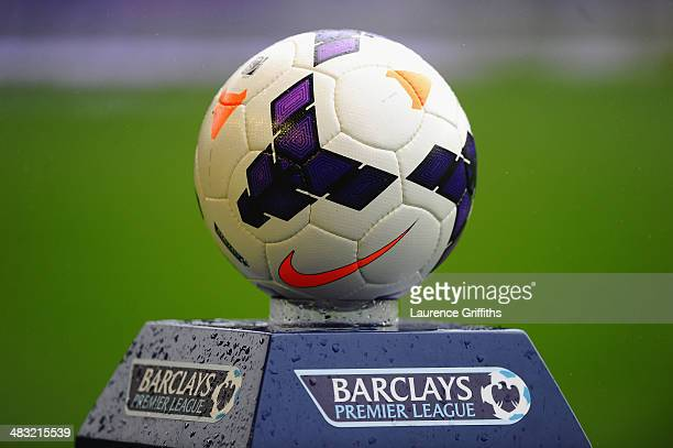 General View of the match ball prior to the Barclays Premier League match between Everton and Arsenal at Goodison Park on April 6 2014 in Liverpool...