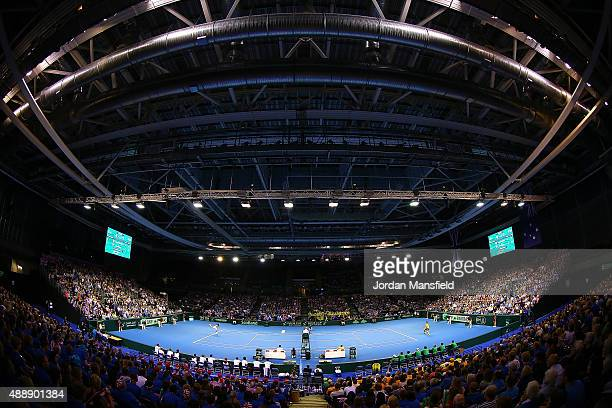 General View of the match between Bernard Tomic of Australia and Dan Evans of Great Britain during Day One of the Davis Cup Semi Final match between...
