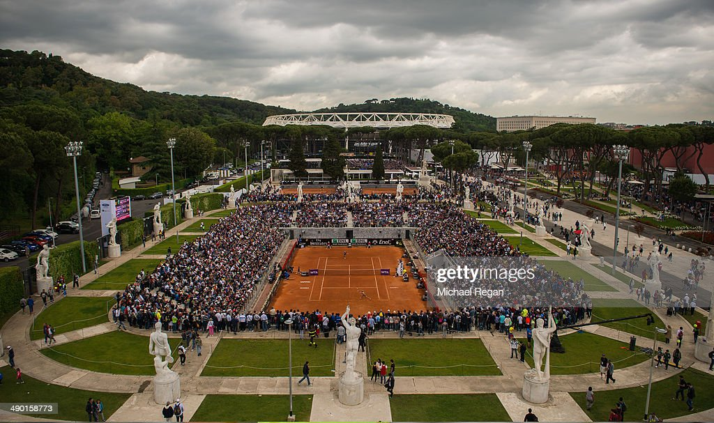 General view of the match between <a gi-track='captionPersonalityLinkClicked' href=/galleries/search?phrase=Camila+Giorgi&family=editorial&specificpeople=7865503 ng-click='$event.stopPropagation()'>Camila Giorgi</a> of Italy and <a gi-track='captionPersonalityLinkClicked' href=/galleries/search?phrase=Dominika+Cibulkova&family=editorial&specificpeople=4091238 ng-click='$event.stopPropagation()'>Dominika Cibulkova</a> of Slovakia on the Pietrangeli Court during day 3 of the Internazionali BNL d'Italia 2014 on May 13, 2014 in Rome, Italy.