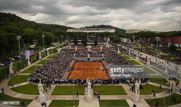 General view of the match between Camila Giorgi of Italy and Dominika Cibulkova of Slovakia on the Pietrangeli Court during day 3 of the...