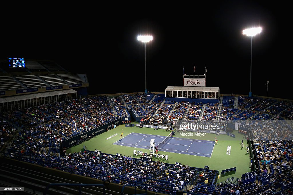 A general view of the match between Caroline Wozniaki of Denmark and Petra Kvitova of Czech Republic during the semifinal round of the Connecticut...
