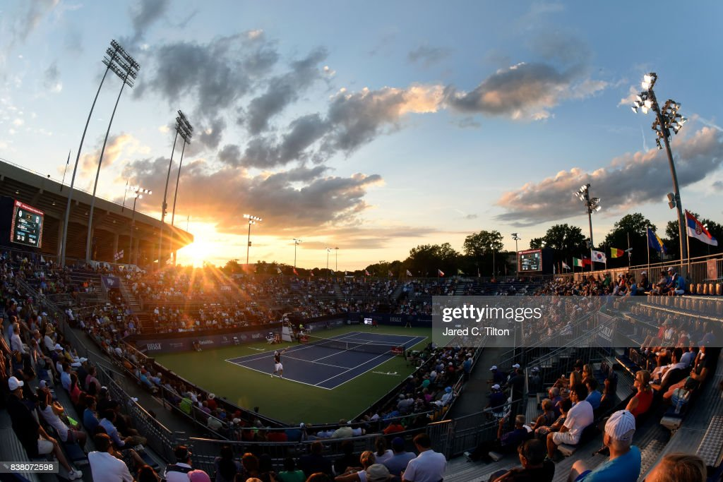 A general view of the match between John Isner and Borna Coric of Croatia during the fifth day of the Winston-Salem Open at Wake Forest University on August 23, 2017 in Winston-Salem, North Carolina.