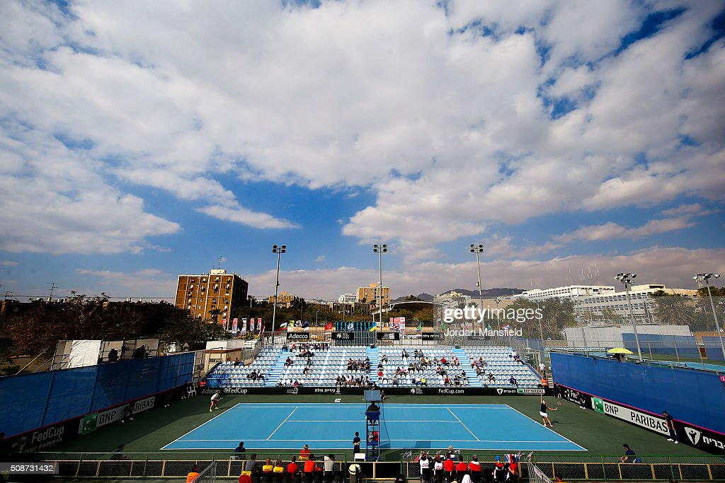 A general view of the match between Katie Swan of Great Britain and Ysaline Bonaventure during the tie between Belgium and Great Britain on day three of the Fed Cup Europe/Africa Group One fixture at the Municipal Tennis Club on February 6, 2016 in Eilat, Israel.