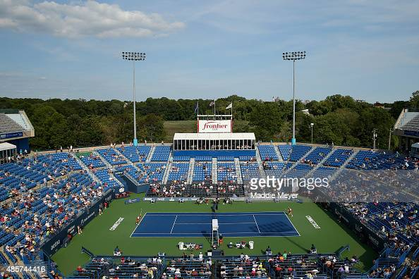 A general view of the match between Lucie Safarova of Czech Republic and Petra Kvitova of Czech Republic during the final round on Day 6 of the...