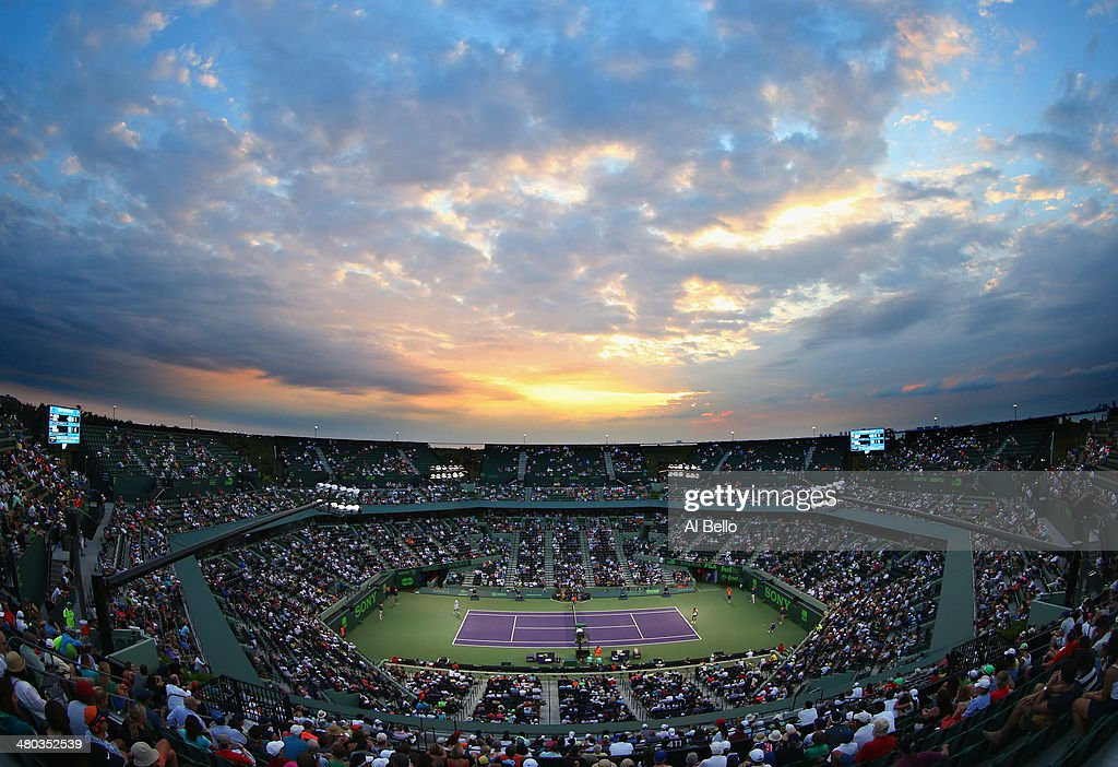 A general view of the match between Rafael Nadal of Spain and Denis Istomin of Uzbekistan during their match on day 8 of the Sony Open at Crandon Park Tennis Center on March 24, 2014 in Key Biscayne, Florida.