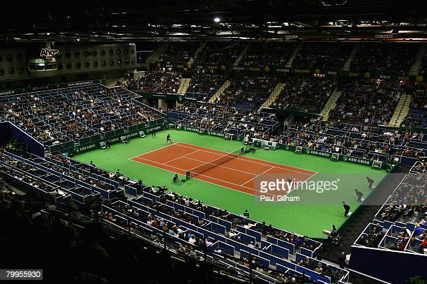 A general view of the match between Robin Soderling of Sweden and Gilles Simon of France during day six of the ATP 35th ABN AMRO World Tennis...