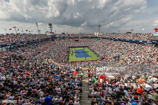 General view of the match between Roger Federer of Switzerland and Roberto Bautista Agut of Spain during day eight of the Rogers Cup presented by...