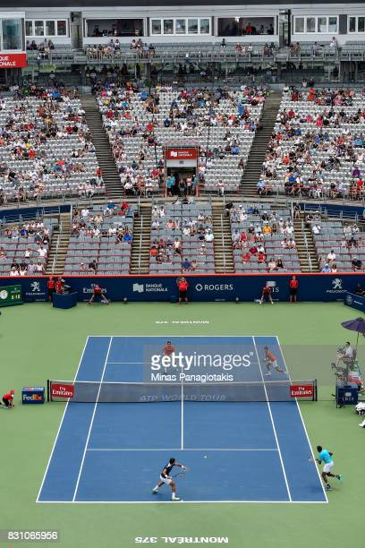 General view of the match between Rohan Bopanna of India and Ivan Dodig of Croatia against PierreHugues Herbert and Nicolas Mahut of France during...