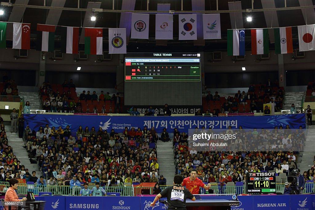 General view of the match between Xu Xin of China against Fan Zhengdong of China in the menÕs singles finals gold medal table tennis match on day...