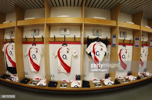A general view of the match kit laid out in the England room prior to kickoff during the Investec Challenge match between England and Australia at...