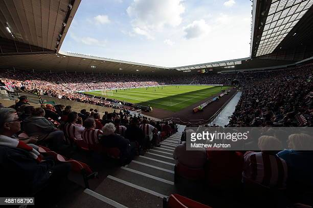A general view of the match taking place during the Barclays Premier League match between Sunderland and Tottenham Hotspur at the Stadium of Light on...