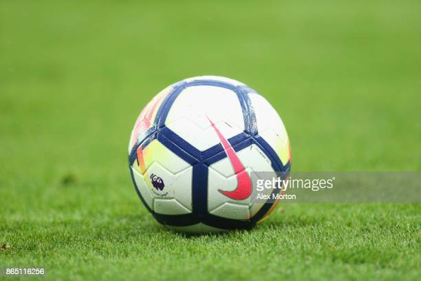General view of the matchball during the Premier League match between Stoke City and AFC Bournemouth at Bet365 Stadium on October 21 2017 in Stoke on...