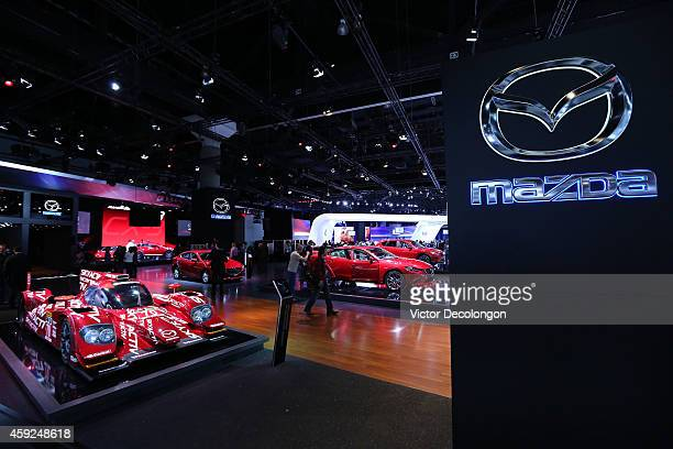 A general view of the Mazda booth at the annual Los Angeles Auto Show on November 19 2014 in Los Angeles California