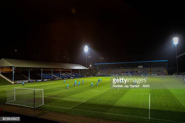 A general view of The MBI Shay Stadium home stadium of FC Halifax Town during The Emirates FA Cup First Round Replay between FC Halifax Town and...