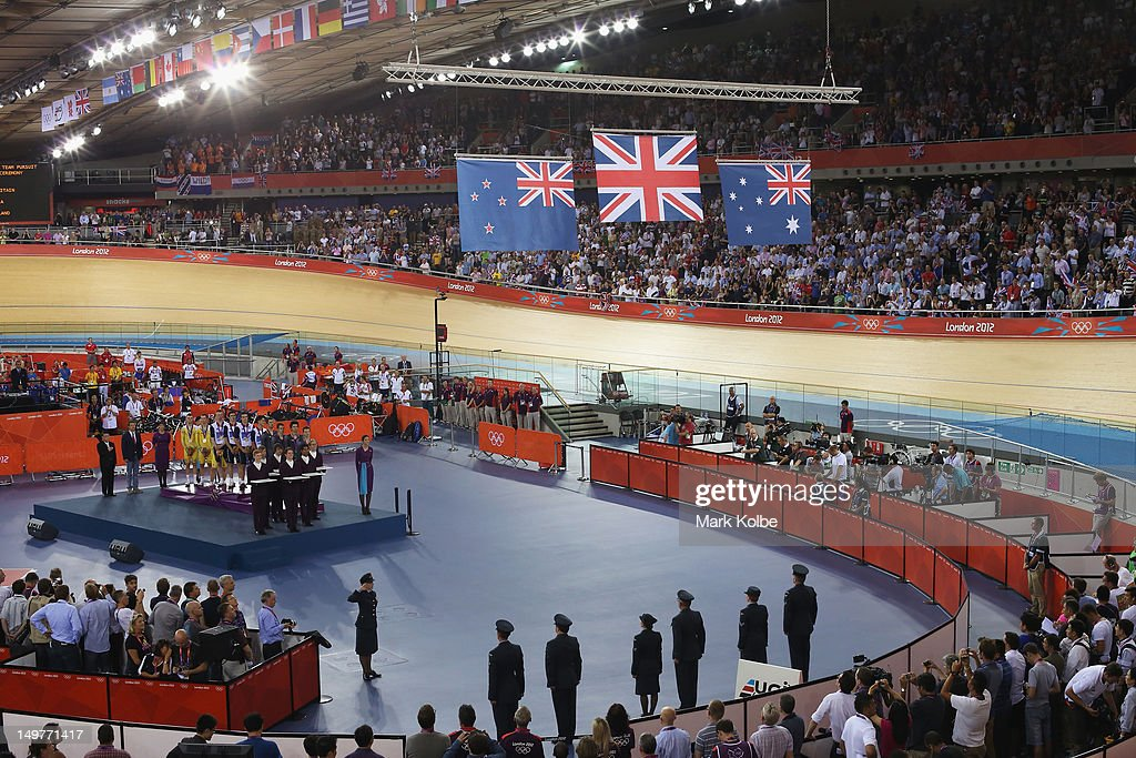 A general view of the medal ceremony for the Men's Team Pursuit Track Cycling final is seen at the Velodrome on August 3, 2012 in London, England.