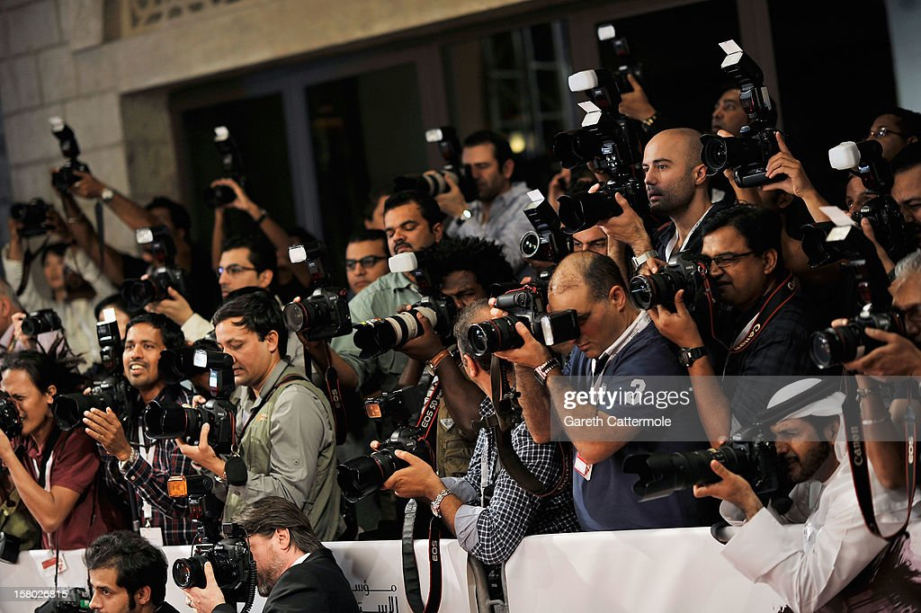 A general view of the media at the 'Life of PI' Opening Gala during day one of the 9th Annual Dubai International Film Festival held at the Madinat Jumeriah Complex on December 9, 2012 in Dubai, United Arab Emirates.