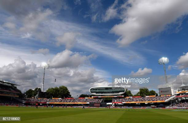 A general view of the media centre during the ICC Women's World Cup 2017 Final between England and India at Lord's Cricket Ground on July 23 2017 in...
