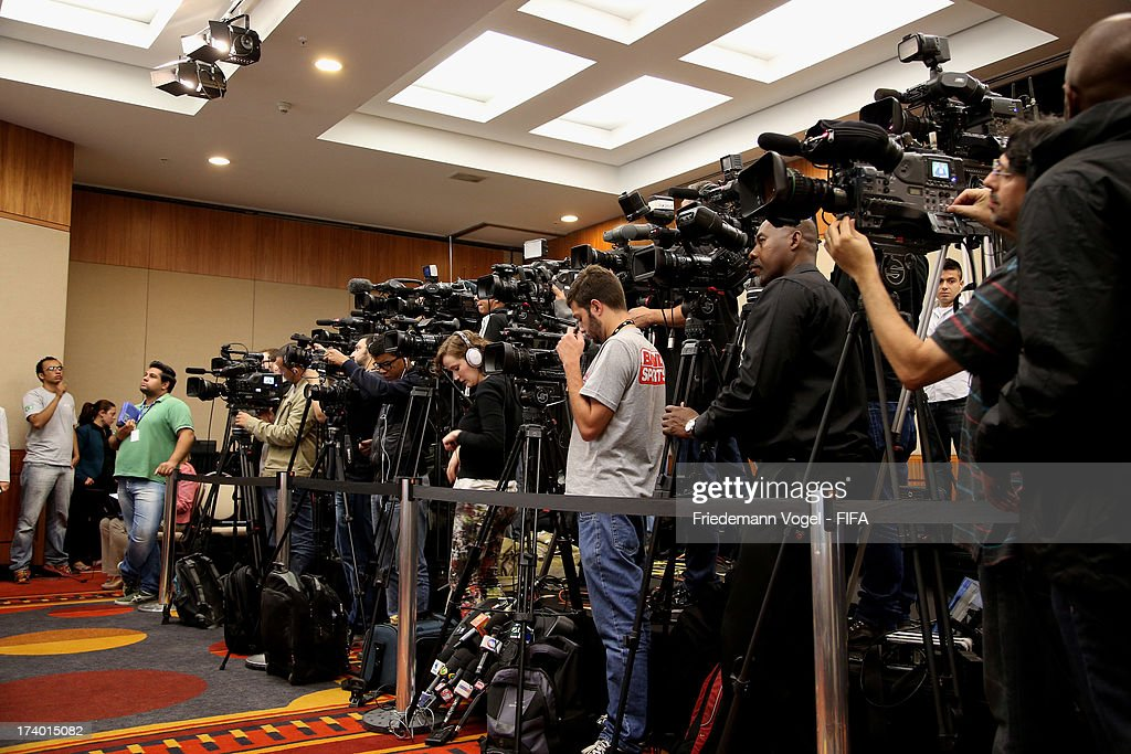 A general view of the media during the media briefing to announce the ticketing strategy for the 2014 FIFA World Cup at the Hotel Renaissance on July 19, 2013 in Sao Paulo, Brazil.