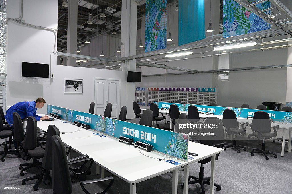 A general view of the media work area at the Main Press Centre prior to the Sochi 2014 Winter Olympics at the Olympic Park on January 31 2014 in...