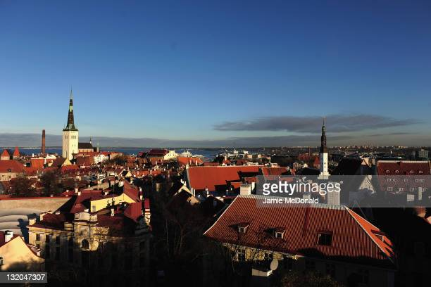A general view of the medieval city of Tallinn on November 10 2011 in Tallinn Estonia A sea cost capital a rare jewel in the north of Europe in the...