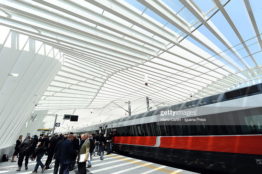 General view of the Mediopadana High Speed Train Station designed by Santiago Calatrava on June 8, 2013 in Bologna, Italy. Composed of 457 steel frames it is the only stop on the high-speed line between Bologna and Milan