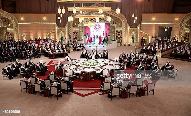 A general view of the meeting of leaders during the Gulf Cooperation Council summit in Doha on December 9 2014 Leaders of energyrich Gulf monarchies...