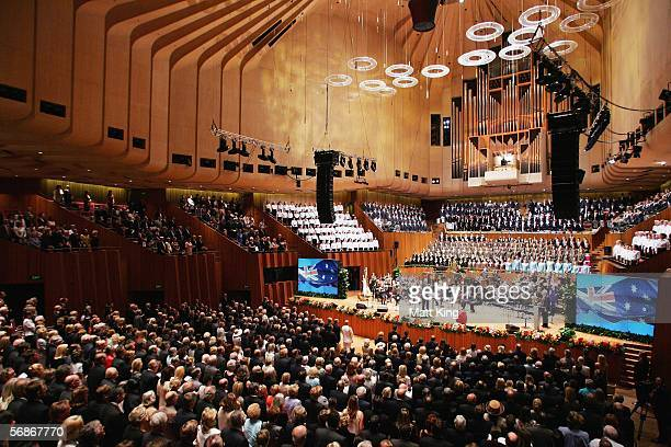 A general view of the memorial service for Kerry Packer inside the Sydney Opera House on February 17 2006 in Sydney Australia Kerry Packer...