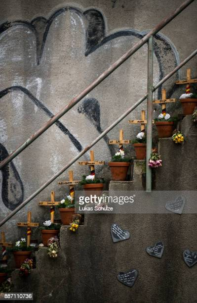 A general view of the memorial to victims of the 2010 Love Parade disaster on December 6 2017 in Duisburg Germany On December 8 six city officials...