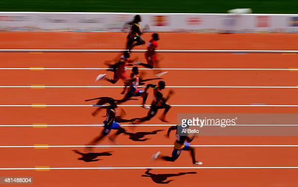 A general view of the Men's 100m heats at the Pan Am Games on July 21 2015 in Toronto Canada