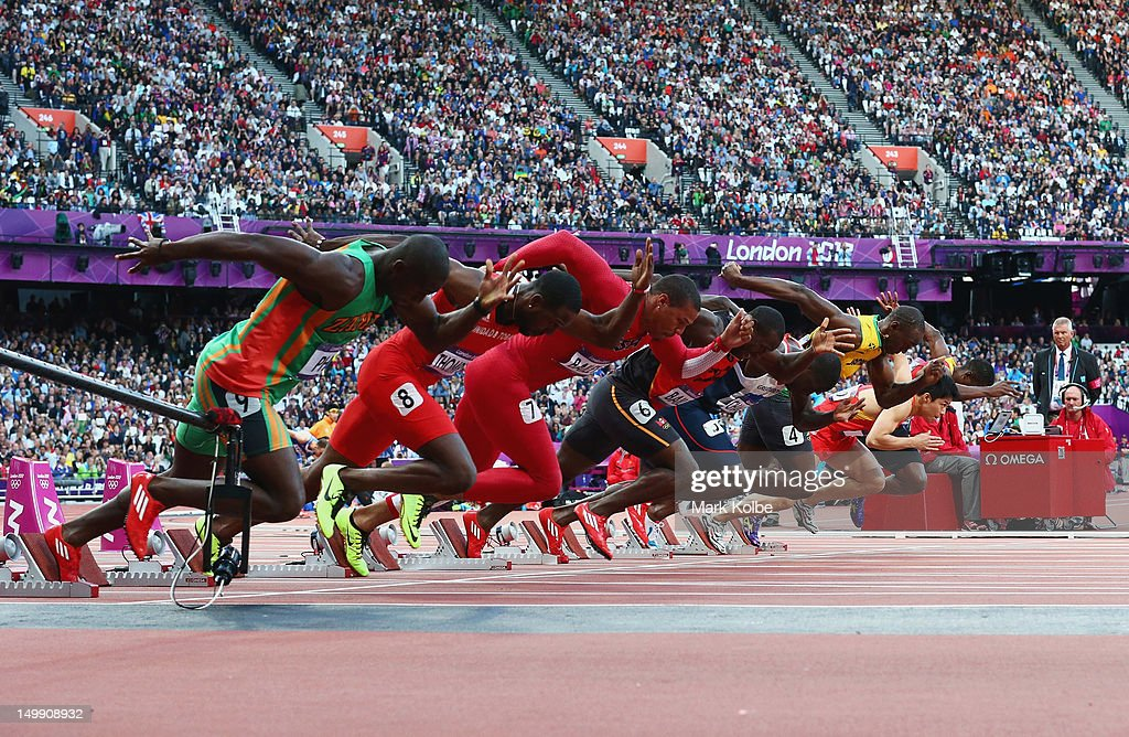 A general view of the Men's 100m Semi Final is seen on Day 9 of the London 2012 Olympic Games at the Olympic Stadiumat Olympic Stadium on August 5, 2012 in London, England.