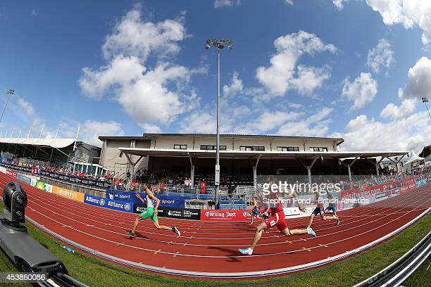 A general view of the Men's 100m T13 semifinals during day two of the IPC Athletics European Championships at Swansea University Sports Village on...