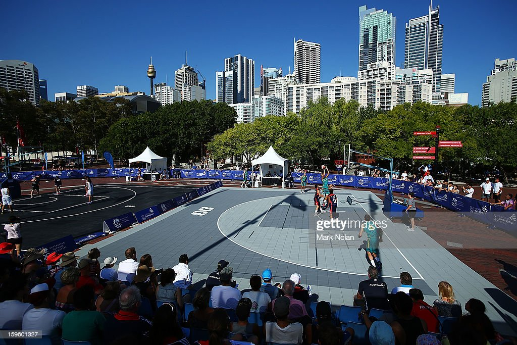 A general view of the Mens and Womens Basketball 3x3 during day two of the 2013 Australian Youth Olympic Festival at Darling Harbour on January 17, 2013 in Sydney, Australia.