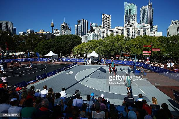 A general view of the Mens and Womens Basketball 3x3 during day two of the 2013 Australian Youth Olympic Festival at Darling Harbour on January 17...