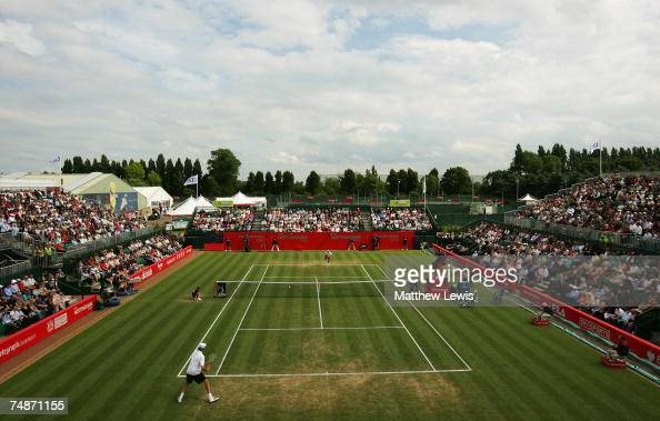 A general view of the Mens Final between Ivo Karlovic of Croatia and Arnaud Clement of France at the ATP Nottingham Open at the City of Nottingham...