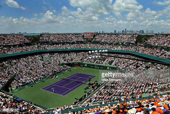 A general view of the Men's Final of the Miami Open presented by Itau between Novak Djokovic of Serbia and Andy Murray of Great Brittain at Crandon...
