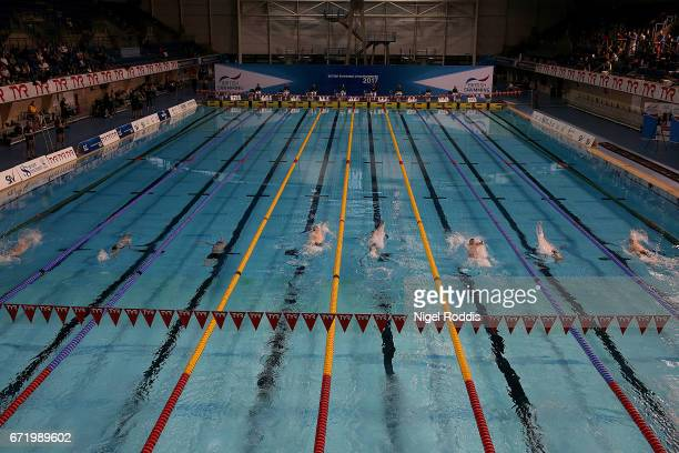 A general view of the Mens Junior 200m Backstroke Final on day six of the 2017 British Swimming Championships at Ponds Forge on April 23 2017 in...