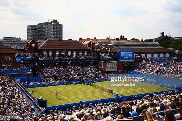 A general view of the men's singles first round match between Rafael Nadal of Spain and Alexandr Dolgopolov of Ukraine during day two of the Aegon...